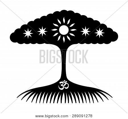 The tree of life. Symbolic tree with stars, sun and aum / om / ohm sign. Mystical fantasy drawing black and white. Vector character graphics. poster