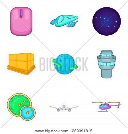 Stratosphere Icons Set. Cartoon Set Of 9 Stratosphere Icons For Web Isolated On White Background