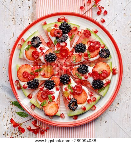 Watermelon Pizza, Vegetarian, Fruit  Pizza With Creamy Natural Yogurt And Fresh Fruits  On A Plate,