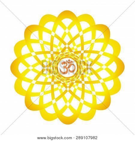 Colorful Openwork Mandala With Aum / Om / Ohm Sign In Center. Circular Elegant Ornament. Vector Grap