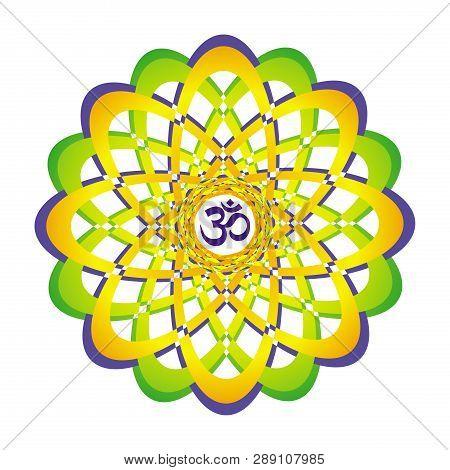 Colorful Openwork Mandala With Aum / Om / Ohm Sign In Center. Circular Elegant Ornament. Vector Grap