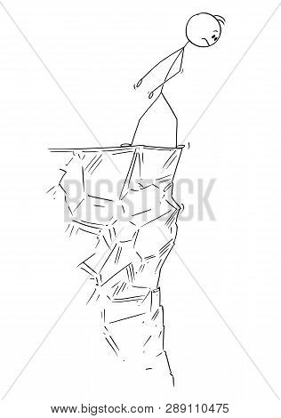 Cartoon Stick Figure Drawing Conceptual Illustration Of Man Or Businessman Looking Cautiously Over T