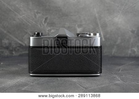 Moscow, Russia, March 13, 2019. The Old Japan 35 Mm Slr Camera Yashica J-3, Released 1962 On Grey Ce