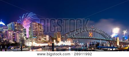 Sydney Harbour NYE Fireworks Panorama