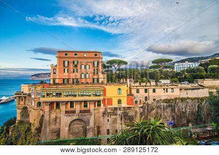 Sorrento, Italy - November, 2018: Old City Street Of Sorrento Amalfi Coast In Italy
