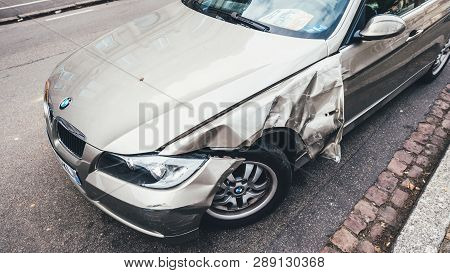 Strasbourg, France - Mar 12, 2019: Above View Of Luxury Bmw German Car Parked On City Street With Da