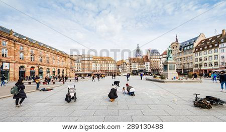 Strasbourg, France - Mar 12, 2019: Central Place Kleber In Strasbourg On A Sunny Afternoon With Peac