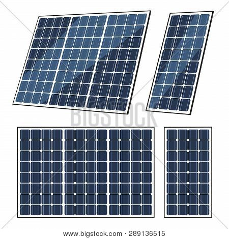 Solar Panels Vector Design Of Sun Energy Modules, Eco Power Batteries With Photovoltaic Solar Cells.