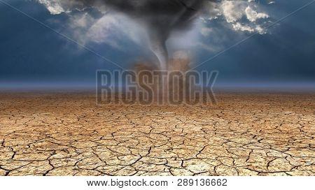 Desert Dust Devil. Arid Land. 3D rendering
