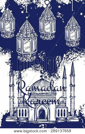 Ramadan Kareem Festive Lantern And Islam Religion Mosque Sketches. Muslim Masjid, Crescent And Arabi