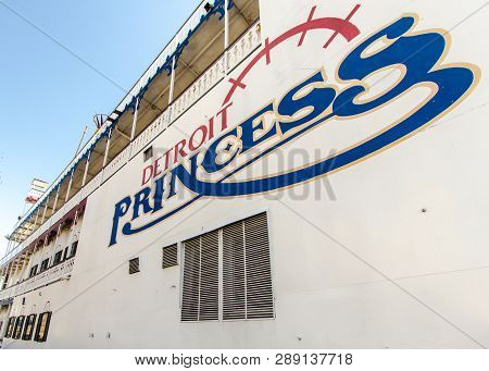 Detroit, Michigan, Usa - March 18, 2018: Exterior Of The Detroit Princess Riverboat With Logo. The H