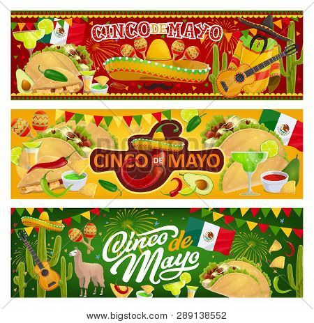 Mexican Holiday Cinco De Mayo, Traditional Mexico 5th May Fiesta Party Celebration. Vector Mexican F