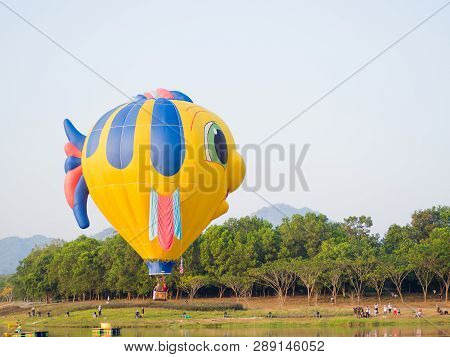 Chiang Rai, Thailand - February 14, 2018: Singha International Balloon Fiesta 2018. The Colorful Of