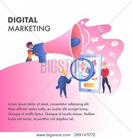 Digital Marketing Website Vector Color Template. Seo Advertising. Television, Internet Network Illus