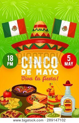 Mexican Food And Drinks Vector Design Of Cinco De Mayo Fiesta Party Invitation. Sombrero, Pinata And