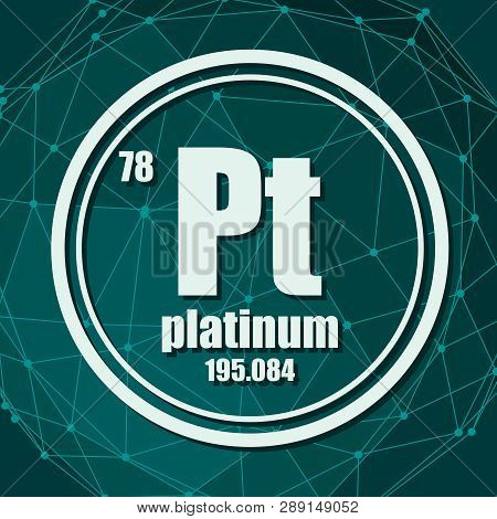 Platinum Chemical Element. Sign With Atomic Number And Atomic Weight. Chemical Element Of Periodic T