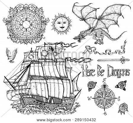 Design Set With Sailing Vessel, Flying Dragon, Compass, Sword, Decoration. Vector Sketch Of Fantasy