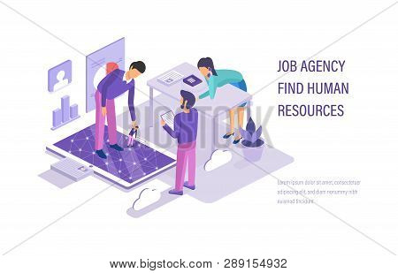 Job Agency Find Human Resources. Search Working Staff, Study Resume.