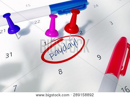 Isometric 3D Render Calendar with colorful pins and gold coins. Calendar with circled payday or payroll or paycheck. Pinned, closeup.