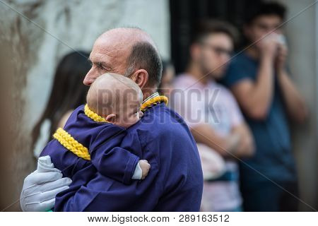 Caceres, Extremadura, Spain - April 09, 2017:  The Royal And Most Fervent Brotherhood Of Penitents,