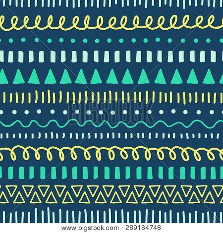 Tribal Doodles Seamless Vector Pattern. Ethnic Style Background White, Blue, Yellow, Teal. Hand Draw