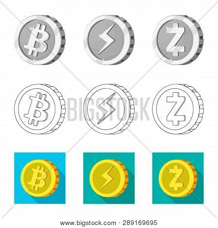 Vector Illustration Of Cryptocurrency And Coin Sign. Set Of Cryptocurrency And Crypto Stock Vector I
