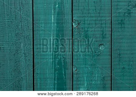 Wooden Fence Cracked Paint. Rough Wooden Boards Painted Green. Wood Texture Background, Oak Wood Wal