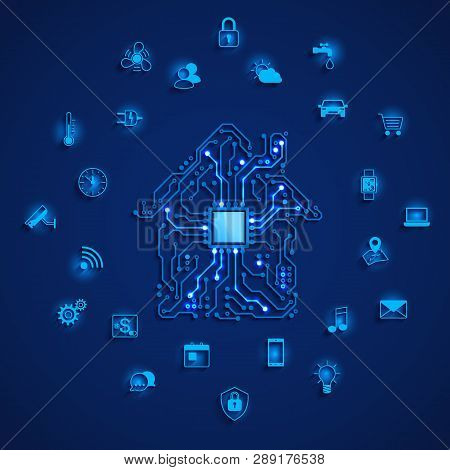 Smart House Or Iot Concept. Smart Home Icons Set. Remote Monitoring And Control Smart House. House C