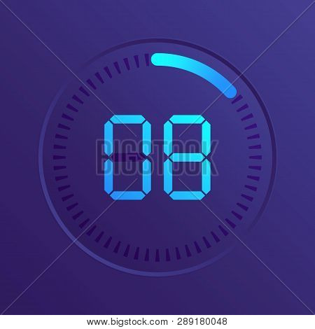 The 8 Minutes, Stopwatch Vector Icon, Digital Timer. Vector Digital Count Down Circle Board With Cir
