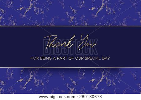 Design Of Thank You Card Template. Marble Texture Background And Gold Text. Dimensions 6x4 Inch. Vec