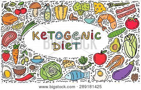 Keto Diet Hand Drawn Template Background