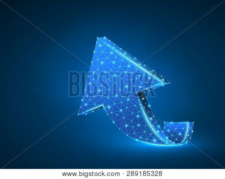Arrow Growth, Success, Team Work Abstract Sign. One Arrow Goes Up Wireframe Digital 3d Illustration.