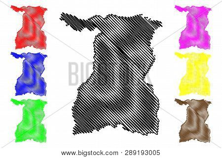 Surin Province (kingdom Of Thailand, Siam, Provinces Of Thailand) Map Vector Illustration, Scribble