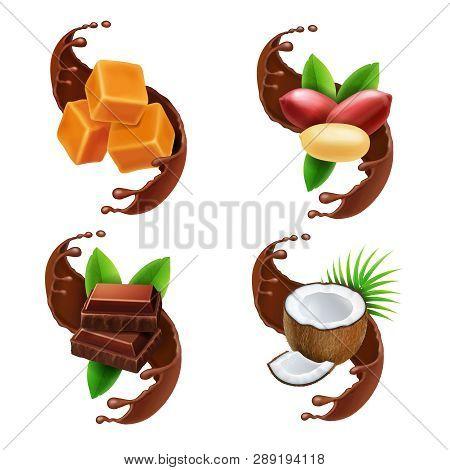 Chocolate Piece, Peanuts, Caramel, Coconut In Chocolate Splash Realistic Collection