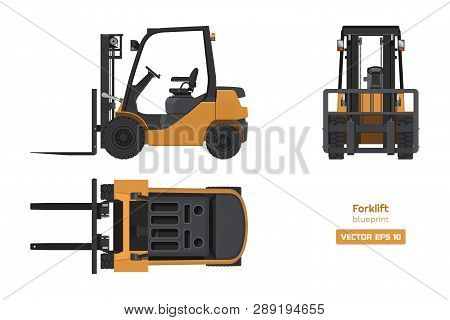 Forklift In Realistic Style. Top, Side And Front View. Hydraulic Machinery 3d Image. Industrial Isol