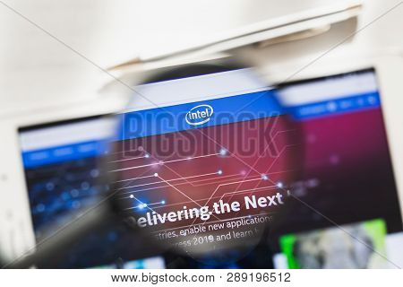 California, Usa - 7 March 2019: Intel Corporation Official Website Homepage Under Magnifying Glass.