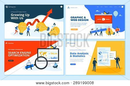 Set Of Flat Design Web Page Templates Of Creative Solution, Graphic And Web Design, Seo, Data Analys