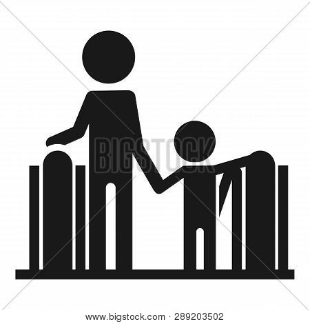Adult With Child Escalator Icon. Simple Illustration Of Adult With Child Escalator Icon For Web Desi
