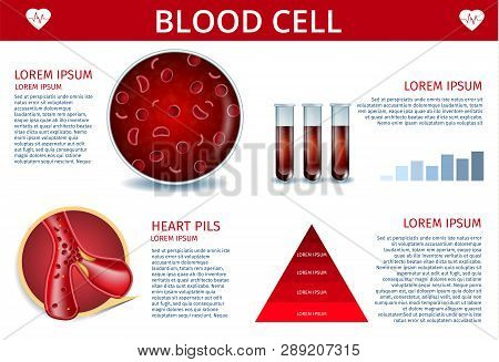 Blood Cell Medical Banner Depicting Icons of Artery, Erythrocyte Cell with Hemoglobin Inside, Red Sample Fluid in Test Tubes. Hematology Chart and Scheme. Vector Realistic Illustration with Copy Space poster