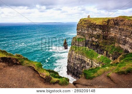 Cliffs Of Moher, Burren, County Clare, Ireland. Sea Cliffs Rise Above Atlantic Ocean. Branaunmore Se