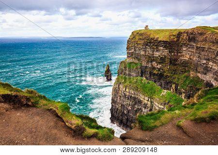 Cliffs Of Moher, Burren, County Clare, Ireland. Sea Cliffs Rise Above Atlantic Ocean. Branaunmore Se