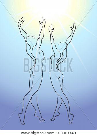 Woman and man glorify sun