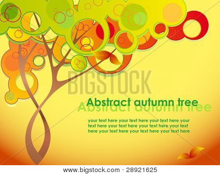 Abstract autumn tree with red leaves