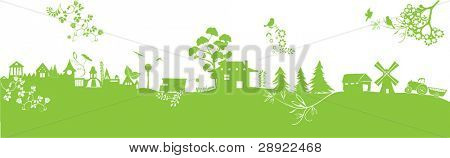 green ecology landscape with flowers, houses, birds