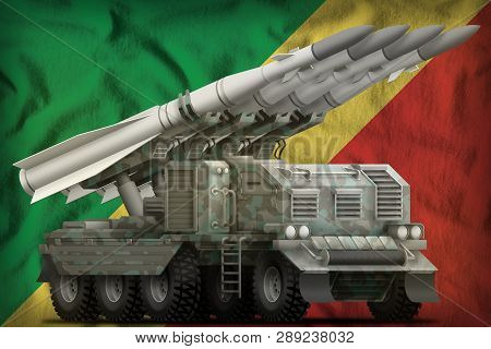 Tactical Short Range Ballistic Missile With Arctic Camouflage On The Congo Flag Background. 3d Illus