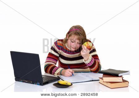 Teenager Girl Student Doing Homework