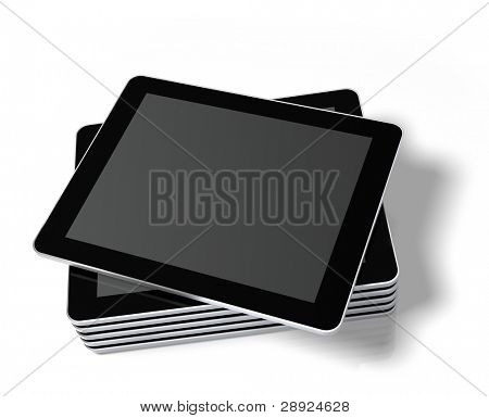 Stacked generic tablet PC / Touch panel computer with a blank screen, ready to overlay a custom screen or message. Buttons have been omitted to avoid giving impression of a specific model. 3d render. poster