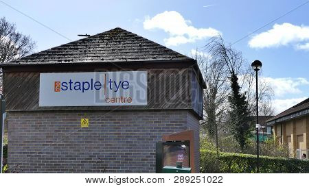 Harlow, England - 13 March 2019. The Staple Tye Shopping Centre Sign