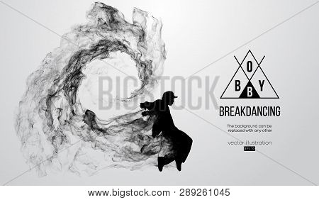 Abstract Silhouette Of A Breakdancer, Man, Bboy, Breaker, Breaking On The White Background From Part