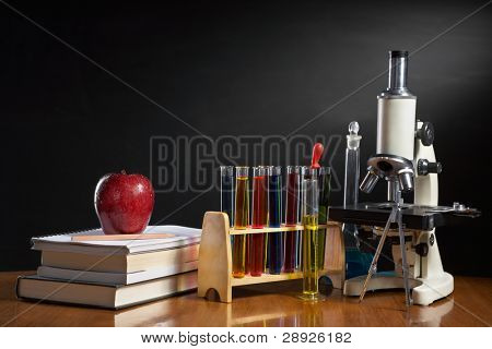 School concept with item represent each subject in school, biology, geography, mathematics, chemistry, literature, etc